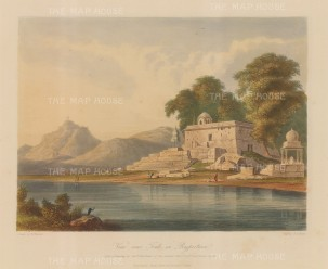 Raputana (Ragasthan): View on Banas River near Tonk. After Capt. Charles Auber.