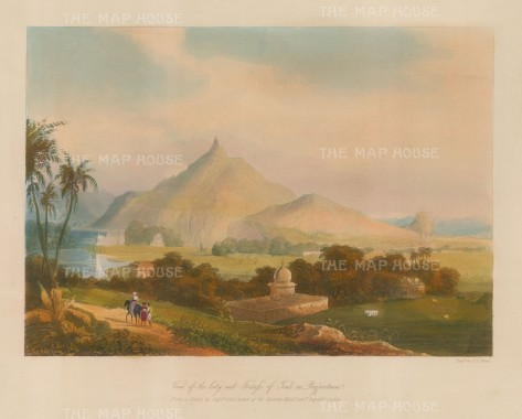 Raputana (Ragasthan): Tonk. View of the city and fort on the Banas River. After Capt. Charles Auber.
