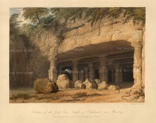 Elephanta Island (Gharapuri) in Mumbai Harbour: View of the overgrown entrance to the Great Cave dedicated to the Lord Shiva. After William Westall RA.
