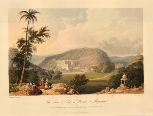 Raputana (Ragasthan): Bundi. View of the city and passage through the Aravalli range. After Capt. Charles Auber.