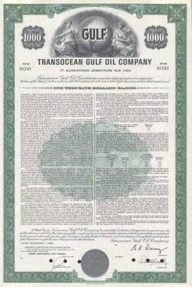 "American Bank Note Co.: Transocean Gulf Oil Company debenture. 1968. An original colour vintage mixed-method engraving. 10"" x 15"". [BONDp44]"