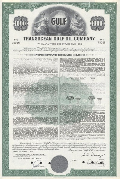 """Transocean Gulf Oil Company. 1968. An original colour vintage mixed-method engraving. 11"""" x 14"""". [MISCp3764]"""