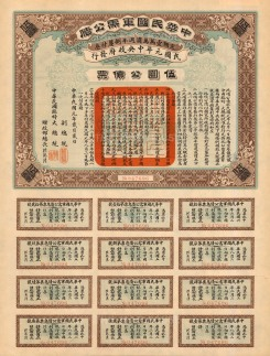 Bond issued by the Provisional Government of the Republic of China. Chinese script with English on verso.