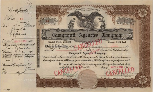 "Guayaquil Agencies Company: Share certificate. 1933. An original colour vintage mixed-method engraving. 13"" x 8"". [BONDp22]"