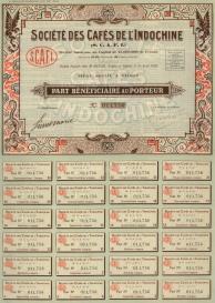 """Societe des Cafes de l'Indochine: Share Certificate. 1926. An original colour vintage mixed-method engraving. 10"""" x 14. [MISCp5048]"""