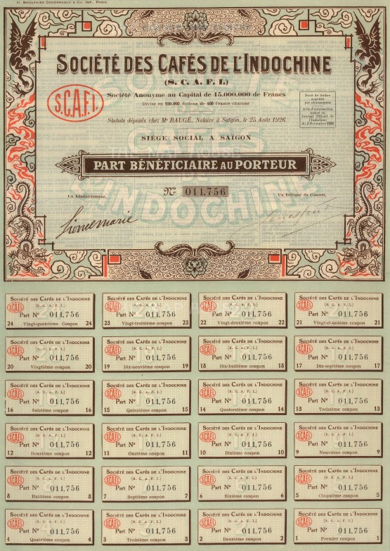 "Societe des Cafes de l'Indochine: Share Certificate. 1926. An original colour vintage mixed-method engraving. 10"" x 14. [MISCp5048]"