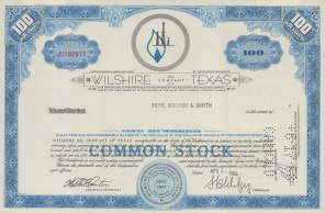 "S-C.B. Co.: Wiltshire Oil Company of Texas, One hundred shares. 1968. An original colour vintage mixed-method engraving. 12"" x 8"". [BONDp48]"