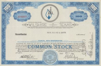 """Wiltshire Oil Company of Texas: One hundred shares. 1968. An original colour vintage mixed-method engraving. 10"""" x 8"""". [MISCp5255]"""