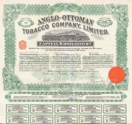 """Anglo Ottoman Tobacco Company Share certificate. 1913. An original colour antique mixed-method engraving. 16"""" x 16"""". [MISCp5289]"""