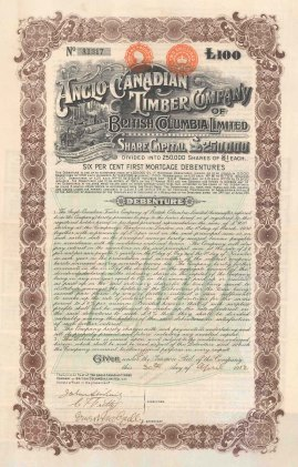 """Anglo Canadian Timber Company of British Columbia Ltd. £100 Debenture. 1912. An original colour antique mixed-method engraving. 10"""" x 17"""". [MISCp5290]"""