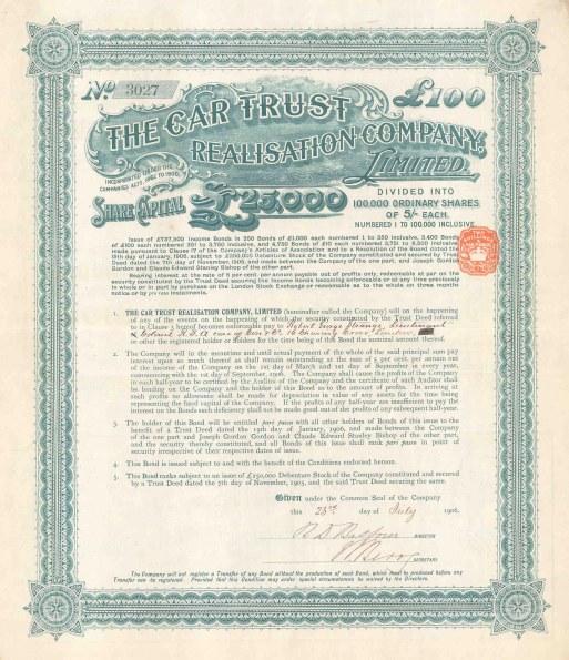 "Car Trust Realisation Company Ltd: £100 share. 1906. An original colour antique mixed-method engraving. 12"" x 14"". [MISCp5293]"