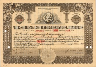 """Shanghai Cheng Rubber Estates Lts. Two hundred shares. 1932. An original colour vintage mixed-method engraving. 11"""" x 8"""". [MISCp5435]"""
