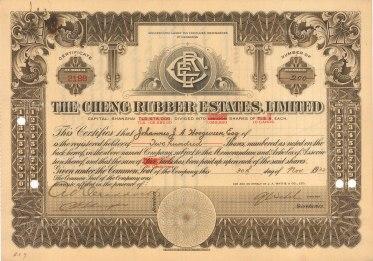 "C.B.N. Co.: Shanghai Cheng Rubber Estates Ltd. Two hundred shares. 1932. An original colour vintage mixed-method engraving. 11"" x 8"". [BONDp14]"