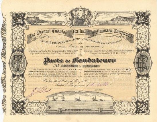 """Channel Tubular Railway Preliminary Company: Five parts de fondateurs. 1892. An original colour antique mixed-method engraving. 11"""" x 9"""". [MISCp5440]"""