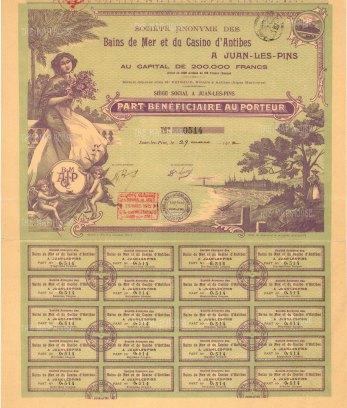 """Casino:Bain de Mer et du Casino d'Antibes. Part Beneficiare au porteur. 1912. An original colour antique mixed-method engraving. 11"""" x 17"""". [MISCp5442]"""