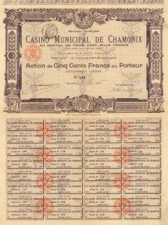 """Imprimerie G. Richard: Casino Municiple de Chamoni Action de Cinq Cent Francs au Porteur. 1905. An original colour antique mixed-method engraving. 12"""" x 16"""". [BONDp10]"""