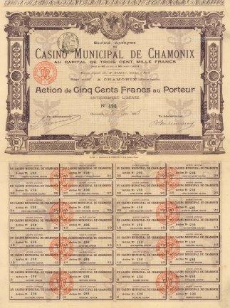"""Casino Municiple de Chamonix:Action de Cinq Cent Francs au Porteur. 1905. An original colour antique mixed-method engraving. 11"""" x17"""". [MISCp5443]"""