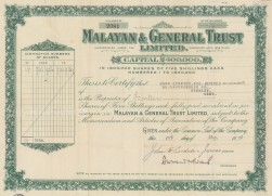 """Malayan & General Trust: Share certificate. c1928. An original colour vintage mixed-method engraving. 13"""" x 7"""". [MISCp5512]"""