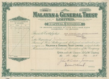 "Malayan & General Trust: Share certificate. c1928. An original colour vintage mixed-method engraving. 13"" x 7"". [MISCp5512]"