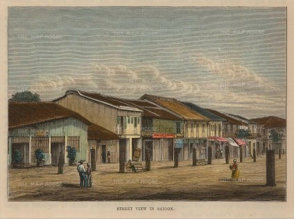 "Brown: Ho Chi Minh, Vietnam. 1885. A hand coloured original antique wood engraving. 6"" x 5"". [SEASp1031]"