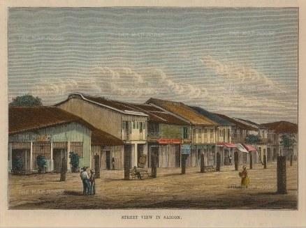 "Brown: Ho Chi Minh, Vietnam. 1885. A hand coloured original antique wood engraving. 6"" x 5"". [SEASp1031]"