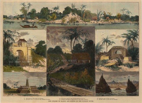 Hanoi: Six views of Hanoi and the Tonking River.