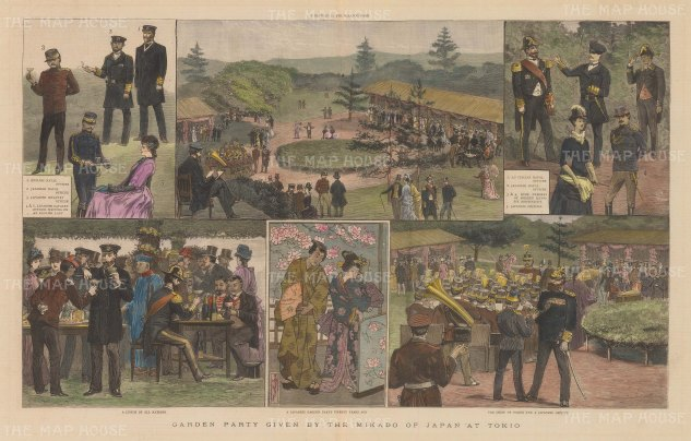 Tokyo (Yeddo): Six scenes during a garden party given by the Mikado of Japan.