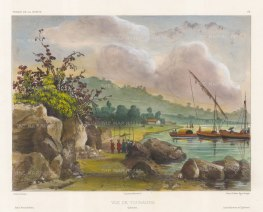 Tourane (Da Nang): View of the port with traditional fishing boats. After Theodore-Auguste Fisquet, artist on the voyage of La Bonite 1836-7.