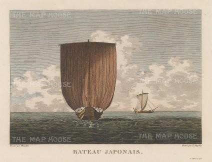 Sampan: Traditional sailing boats. Aft and lateral views.