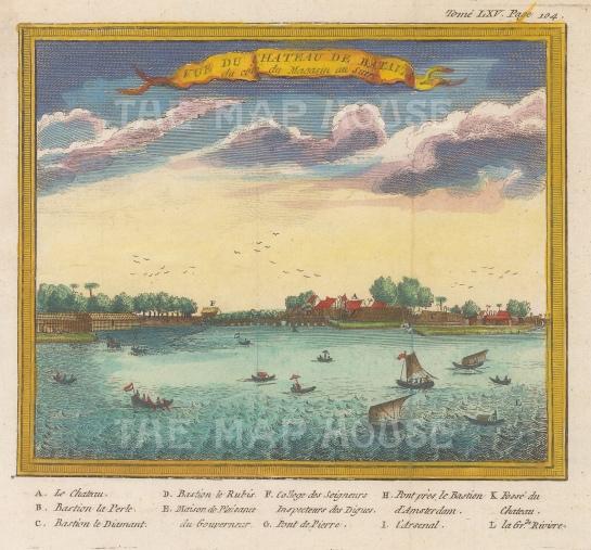Batavia (Jakarta). View of the Castle of Batavia with a key.