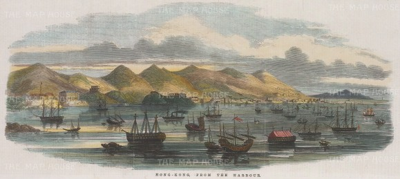 """Illustrated London News: Hong Kong Harbour. 1854. A hand coloured original antique wood engravin. 14"""" x 6"""". [SEASp1434]"""