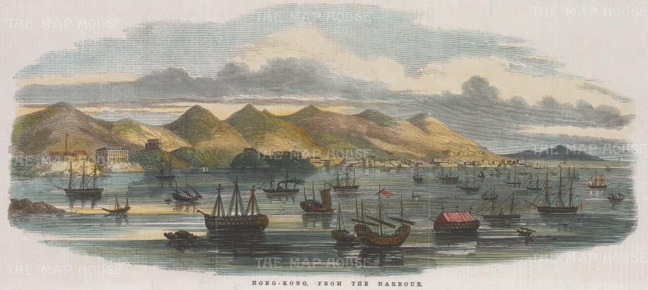 """Illustrated London News: Hong Kong Harbour. 1854. A hand coloured original antique wood engraving. 14"""" x 6"""". [SEASp1434]"""