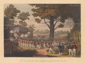 Kemmindine near Rangoon: The British Army storming the lesser stockade.