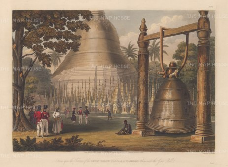 Rangoon (Yangon): Shwedagon Paya and Bell. Showing a substitute for the world's heaviest bell, cast in 1484 and sunk in the Yangon during its theft by Portuguese mercenaries in 1608.