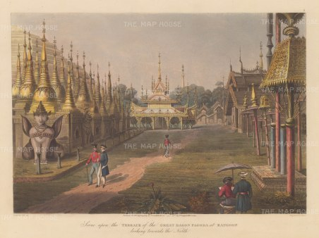 Rangoon (Yangon): Shewdagon Paya. Looking North from the terrace. With the artist sketching in the foreground.