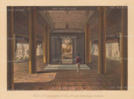 Lt. Moore: Shwedagon Paya, Yangon. 1825. An original antique aquatint. 15″ x 12″. [SEASp1444]