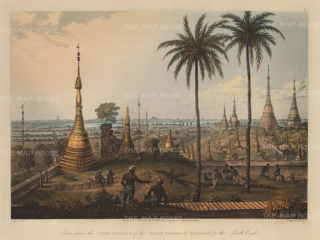 Lt. Moore: Shwedagon Paya, Yangon. 1825. An original antique aquatint. 15″ x 12″. [SEASp1446]