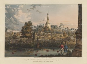 SOLD. Rangoon (Yangon): Shwedagon Pagoda and the area westward of the Great Road with a native fishing in the foreground.