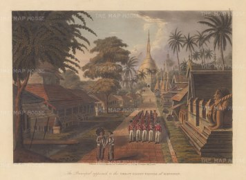 Rangoon: Great Dagon Pagoda as seen from the principal approach with the Bombay Marine in marching formation.