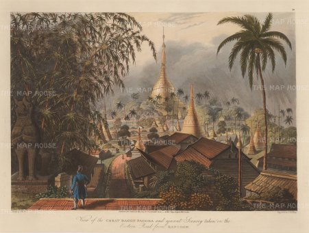 SOLD Rangoon: Shwedagon Paya as seen from the Eastern Road during the First Anglo-Burmese War.
