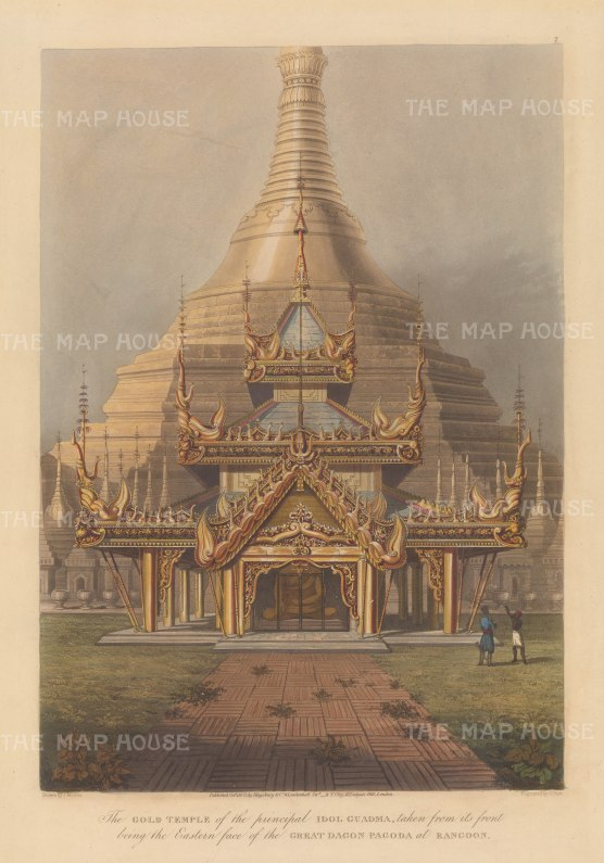 Rangoon (Yangon): Shwedagon Pagoda, eastern face of the Gold Temple of Guadma.