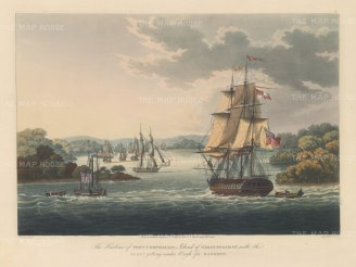 SOLD. Great Andaman Island: Port Cornwallis during the First-Anglo Burmese War. British fleet including the steam powered warship HMS Diana, the 50 gun HMS Liffey and the Cruizer class sloop HMS Sophie.
