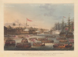 Rangoon (Yangon): First Anglo-Burmese War. Landing of the combined forces of British Infantry, Bombay Marine and the East India Company's private armies from Bengal and Madras
