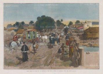 """RESERVED Illustrated London News: Mandalay. 1886. A hand coloured original antique wood engraving. 20"""" x 14"""". [SEASp1459]"""