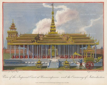 Ummerapoora (Amarapura): View of the Imperial court at the new capital of King Bodawpaya.