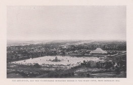 Atumashi Monastery and Mahalawka Marazein (Kuthdaw Stupa): View from Mandalay hill before the fire of 1890.