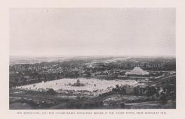 Atumashi Monastery and Mahalawka Marazein (Kuthdaw Stupa): View from Mandalay hill before the fire of 1890.