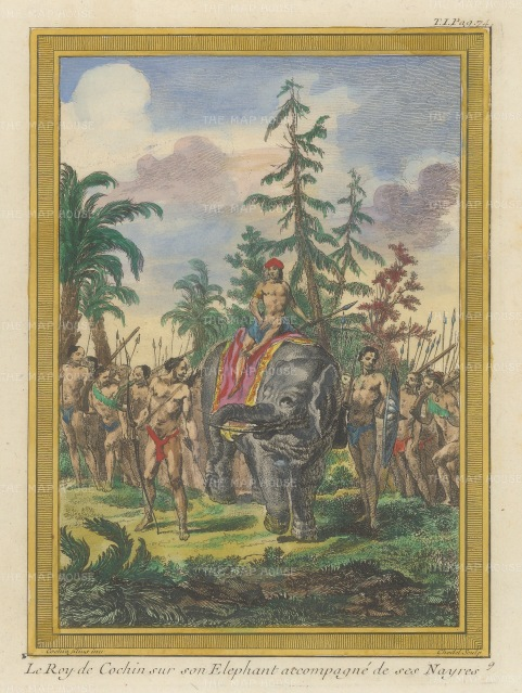 Cochin China: King of Cochin atop an elephant and surrounded by his entourage.