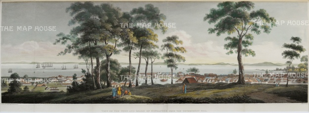 SOLD Rare and Important early panorama. Singapore from Government Hill (Fort Canning) looking towards the straits.