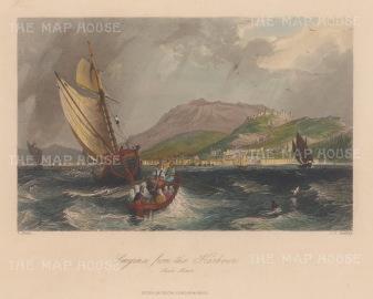"Bartlett: Izmir. 1838. A hand coloured original antique steel engraving. 8"" x 6"". [TKYp1318]"